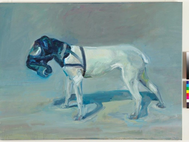2013 WINNER: PETER WEGNER DOG WITH GAS MAS K, Oil on Canvas