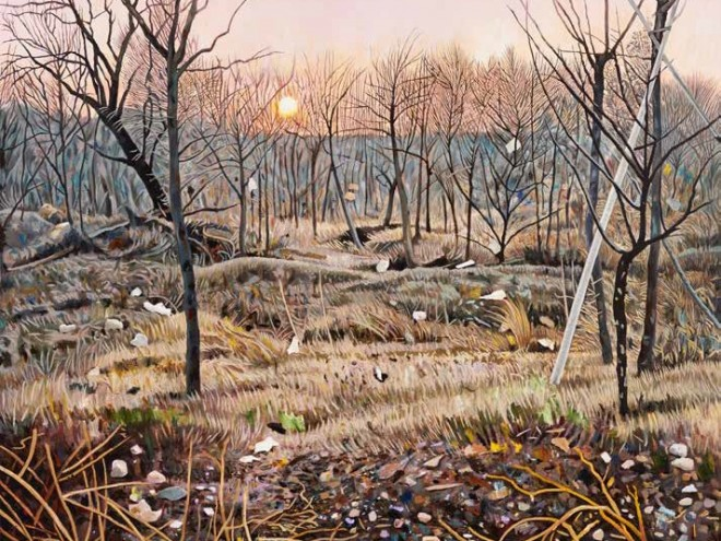 Artist Steve Lopes wins the 2018 Gallipoli Art Prize with 'Exposed Wood, Mont St Quentin'.